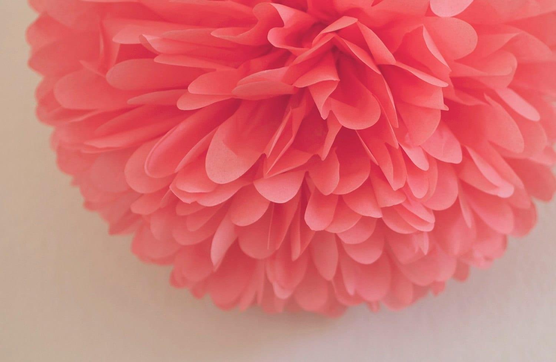 Coral Tissue Pom Pom .. Wedding Decoration / Bridal By