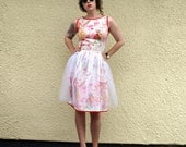 Floral Border Tulle Cocktail Dress - Made to order