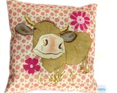 Cow on pink polka dot cushion / pillow lavender scented cute farm animal