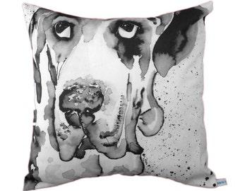 Dog Portrait Cushion / pillow cover monochrome 43 x 43cm