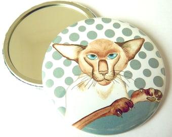 Siamese cat pocket mirror