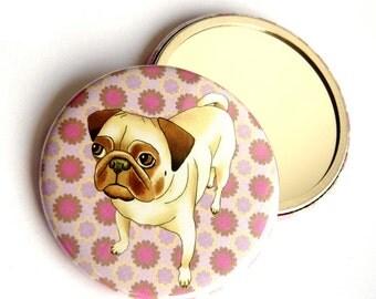Pug dog pocket mirror