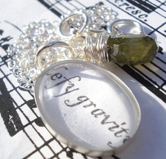 grossular green garnet and silver lyric (TM) necklace - defy gravity