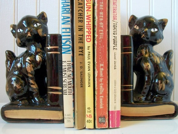 Vintage Black Gold Cat Feline Bookends Vases Books Japan