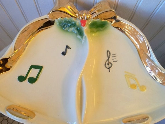 Vintage Cream Notes Musical Shiny Gold Bell Dish Bowl Serving Holiday
