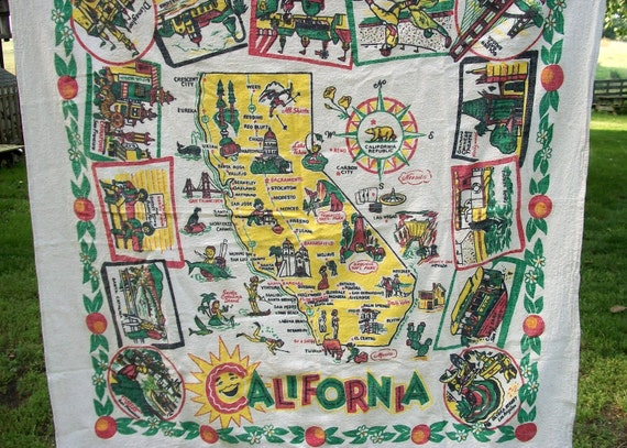 holiday sale black friday Vintage California Souviner Historic Sites Funky Retro Table Cloth Linen Red Yellow Disneyland