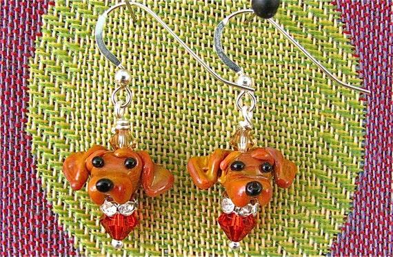 Dachshund Lampwork Bead Earrings - 2