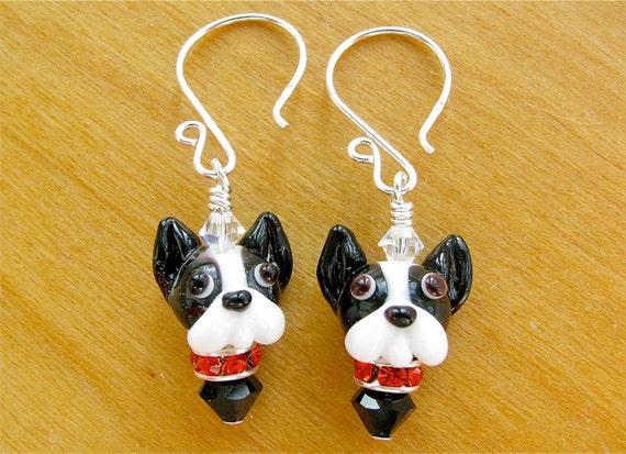 Boston Terrier Earrings - Lampwork Glass Bead Dog Earrings