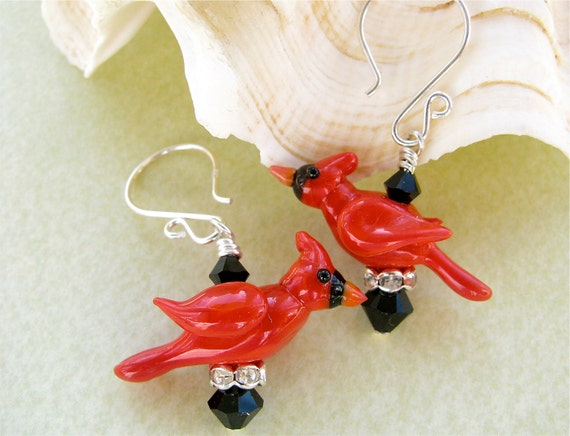 Reserved For Cindy - Cardinal Earrings - Lampwork Glass Beads