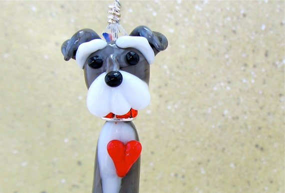 Reserved For Danielle -Schnauzer Dog Lover Pendant on a black cotton cord