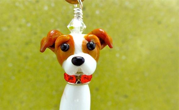 Jack Russell Lampwork Bead Dog Pendant - Ornament