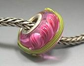 FRESIA ON ROSE Troll Biagi Pandora Lampwork beads by Donna Millard