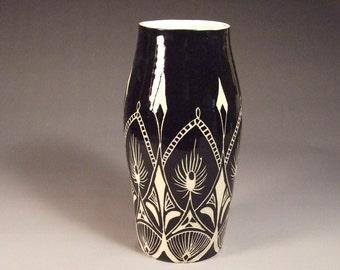 Extra Large Black and White Wheel Thrown Stoneware Sgraffito Vase