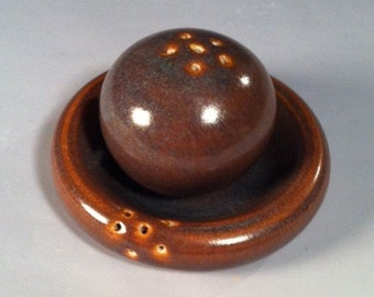 Wheel Thrown Salt and Pepper Shaker Set in Antique Iron Glaze