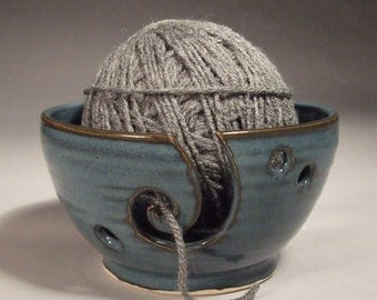 Yarn Bowl in  Croc Blue with Spiral  thrown on Potter's Wheel