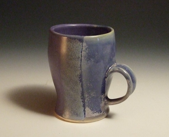 Blue Wheel Thrown Mug With Vertical glaze overlap in blue purple and lapis