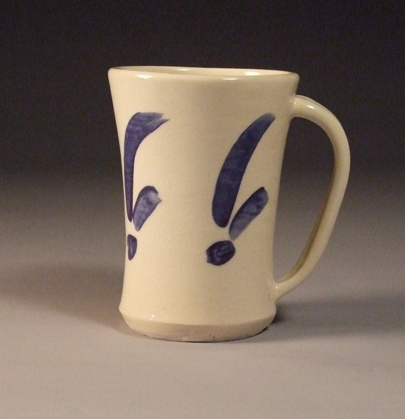 CLEARANCE-  SET of 4- White with blue Mug
