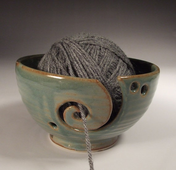 Yarn Bowl in Desert Sage and cactus green glazes- with swirl and three holes