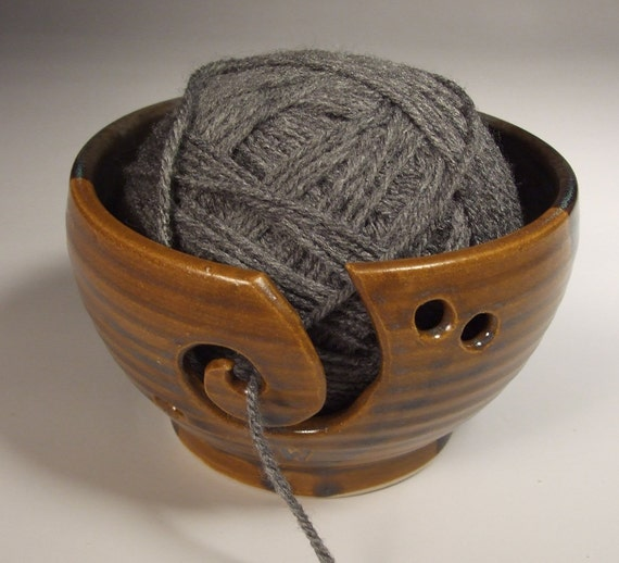 Yarn Bowl in Antique Iron and Steel Gray Shino  thrown on Potter's Wheel