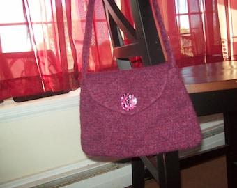 Felted Burgundy Shoulder Bag