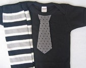Black Gray Baby Boy Tie Bodysuit, matching striped leg warmers - children, baby clothes 0-3, 3-6, 6-12 & 12-18 months long or short sleeves