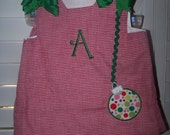 Custom Boutique Christmas Appliqued Dress Outfit Set Ornament And FREE MONOGRAM INTIAL Personalized