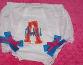 CUSTOM  Initial and Name BLOOMERS Diaper Cover Personalized Monogrammed