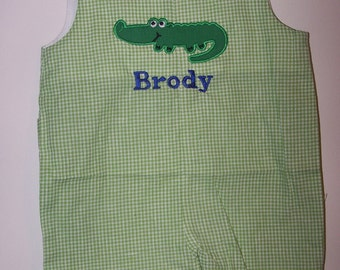 Custom Boutique Boys Alligator Shortall JonJon Personalized Monogram