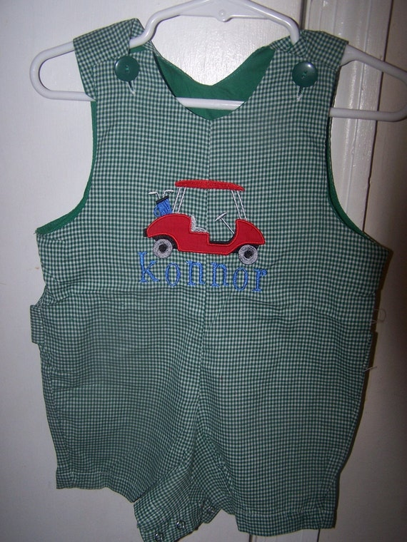 Boys Shortall With Applique Golf Cart and Free Name MONOGRAM