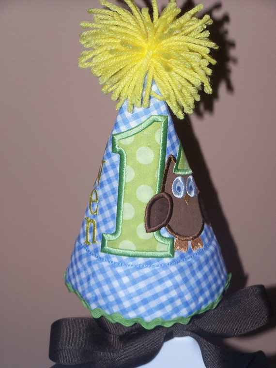 Custom Owl Birthday Party Hat Monogrammed Personalized