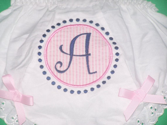 Personalized Bloomers Girls Diaper Cover  Initial with Dots