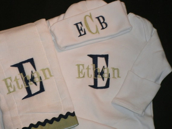 Custom Personalized INFANT Gift Set  Gown Burpcloth Hat  Monogrammed