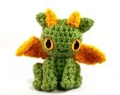 Tiny Dragon Amigurumi Plush - Light Green Gold