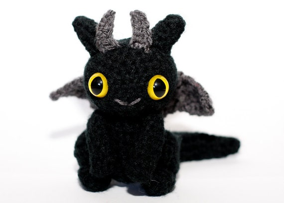 Baby Dragon Amigurumi - Black