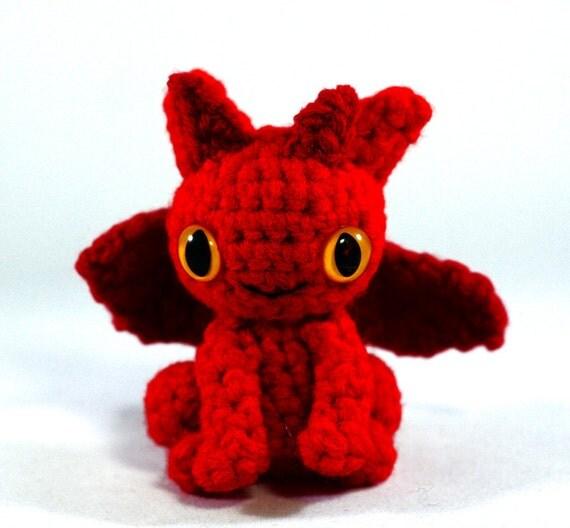 Tiny Dragon Amigurumi - Red Maroon