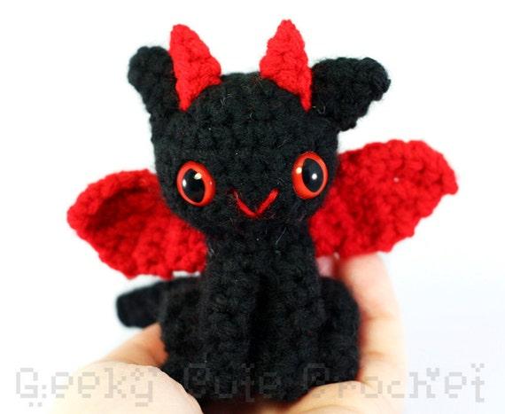 Tiny Dragon Amigurumi - Black Red