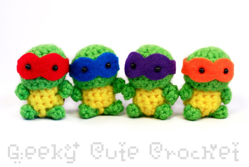 Amigurumi Ninja Turtle : Tiny Teenage Mutant Ninja Turtles Amigurumi Crocheted Plush