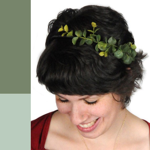 Mother Earth leaf hair band with mint green ribbon. Laurel tiara. Mother nature natural leaves 0099