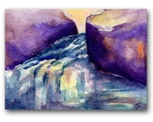 ACEO Original watercolor, blue, purple, waterscape