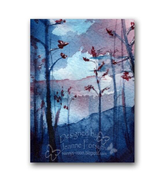 ACEO Art Print, Blue, Giclee Print miniature