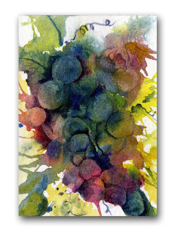 ACEO Art Print, Red, Yellow, Green, Blue, Grapes