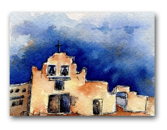 ACEO Art Print, Blue, Yellow, Red, Southwest, Mission