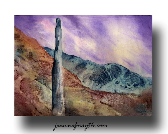 ACEO Art Print, Purple, Turquoise, Earth, Desert