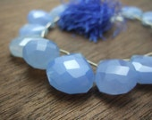 1 focal bead - Giant Blue Chalcedony Faceted Briolette - 16x16mm