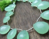 1 pair (2 beads) - HUGE Mint Green Chalcedony Faceted Giant Briolettes - 13x18mm (No.19)