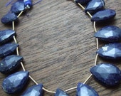 1 pair (2 beads) - Lapis Lazuli Faceted Giant Briolettes - 13x18mm