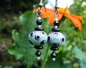 Sea Green Lampwork Eye Bead Earrings