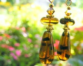 Tortoise Glass Drop Earrings