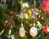 Triple Gemstone Dangle Earrings