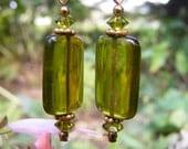 Olive Glass Earrings